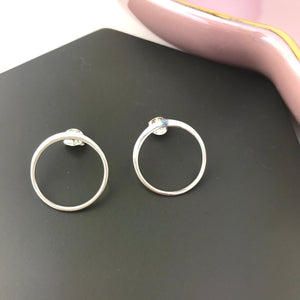 Sterling Silver Large Circle Stud Earrings