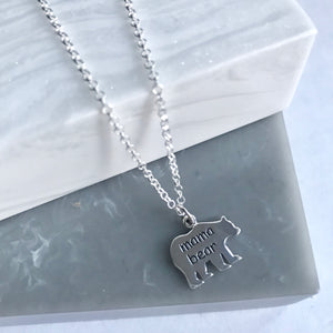 Sterling Silver Mama Bear Shaped Pendant Necklace