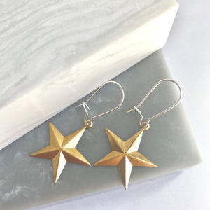 SALE!! Sterling Silver Brass Star Earrings