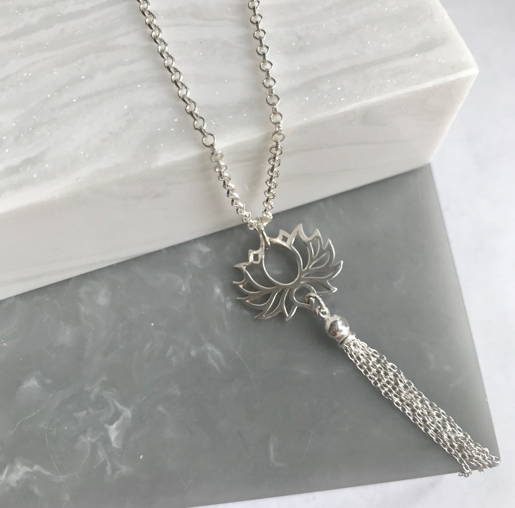 Sterling Silver Lotus Flower Tassel Necklace