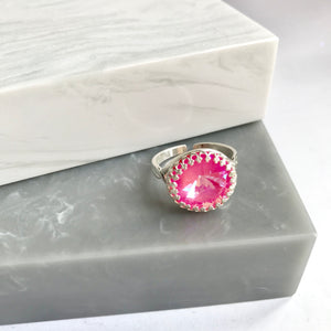 SALE!! Sterling Silver Swarovski Elements Sparkler Neon Pink