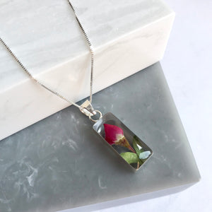 Sterling Silver Mini Rose Rectangle Necklace