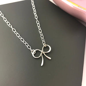 Sterling Silver Bow Charm Necklace