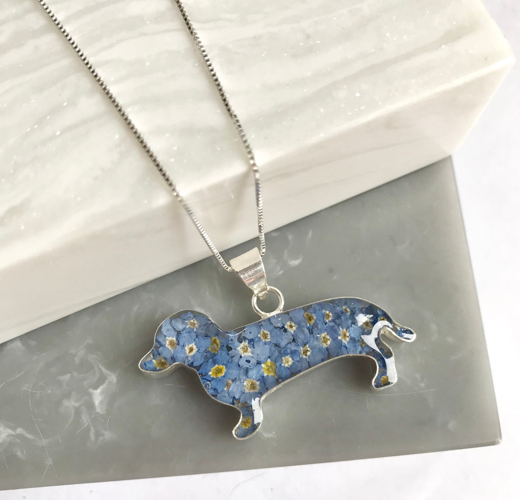 SALE!! Sterling Silver Forget Me Not Dachshund Necklace