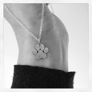 Sterling Silver Large Paw Print Necklace