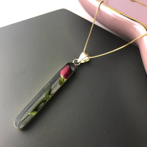 SALE!! Gold Plated Long Stem Rose Necklace