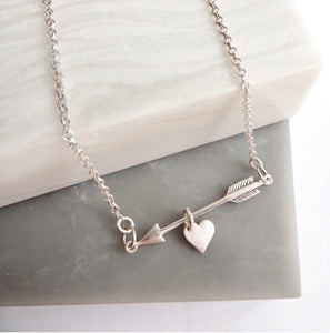 Sterling Silver Arrow & Heart Necklace