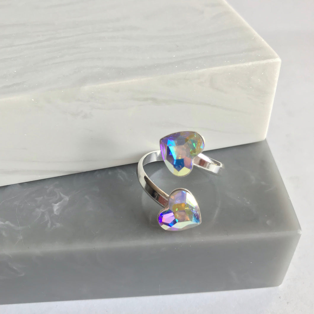 Sterling Silver Double Swarovski Crystal Heart Ring