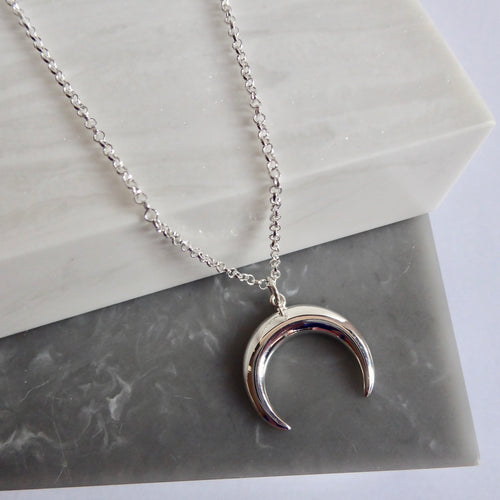 Sterling Silver Crescent Horn Necklace