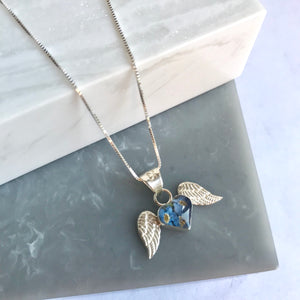 Sterling Silver & Forget Me Not Angel Wing Necklace