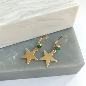 Gold Filled Star Earrings With Green Crystals