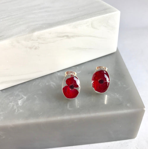 Sterling Silver Real Poppy Stud Earrings