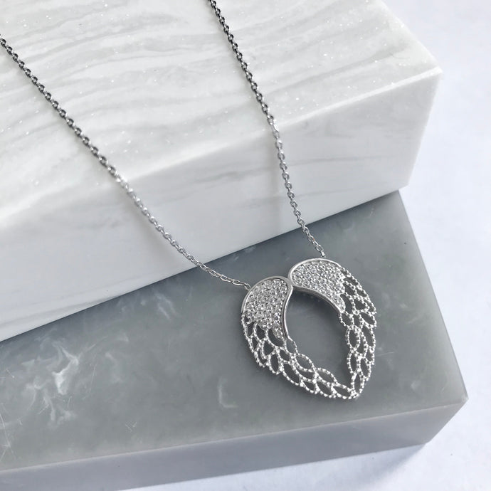 SALE!! Sterling Silver Angel Wing Heart Necklace