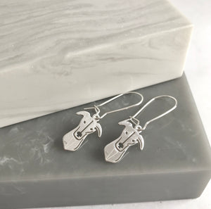 Sterling Silver Greyhound Head Earrings