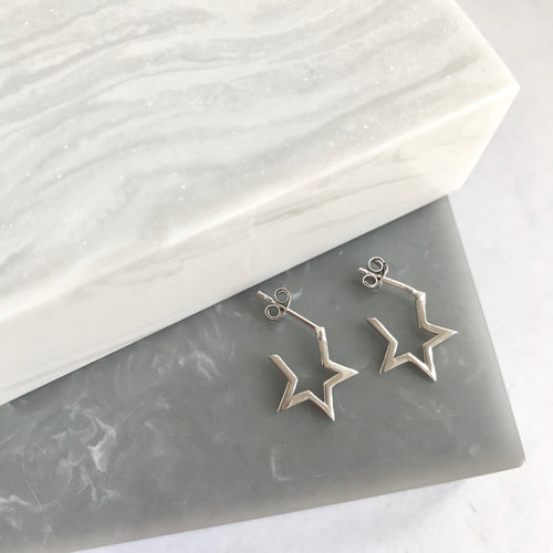 Sterling Silver SMALL Star Hoop Earrings