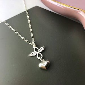 Sterling Silver Infinity Wing Necklace