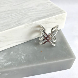 Sterling Silver Double Crossed Ring