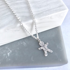 Sterling Silver Gingerbread Man Necklace