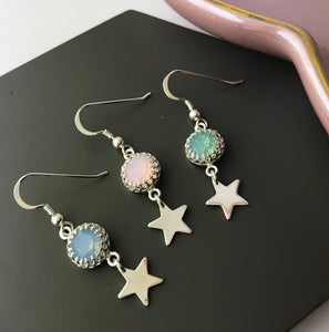 Sterling Silver Opal Crystal Star Earrings