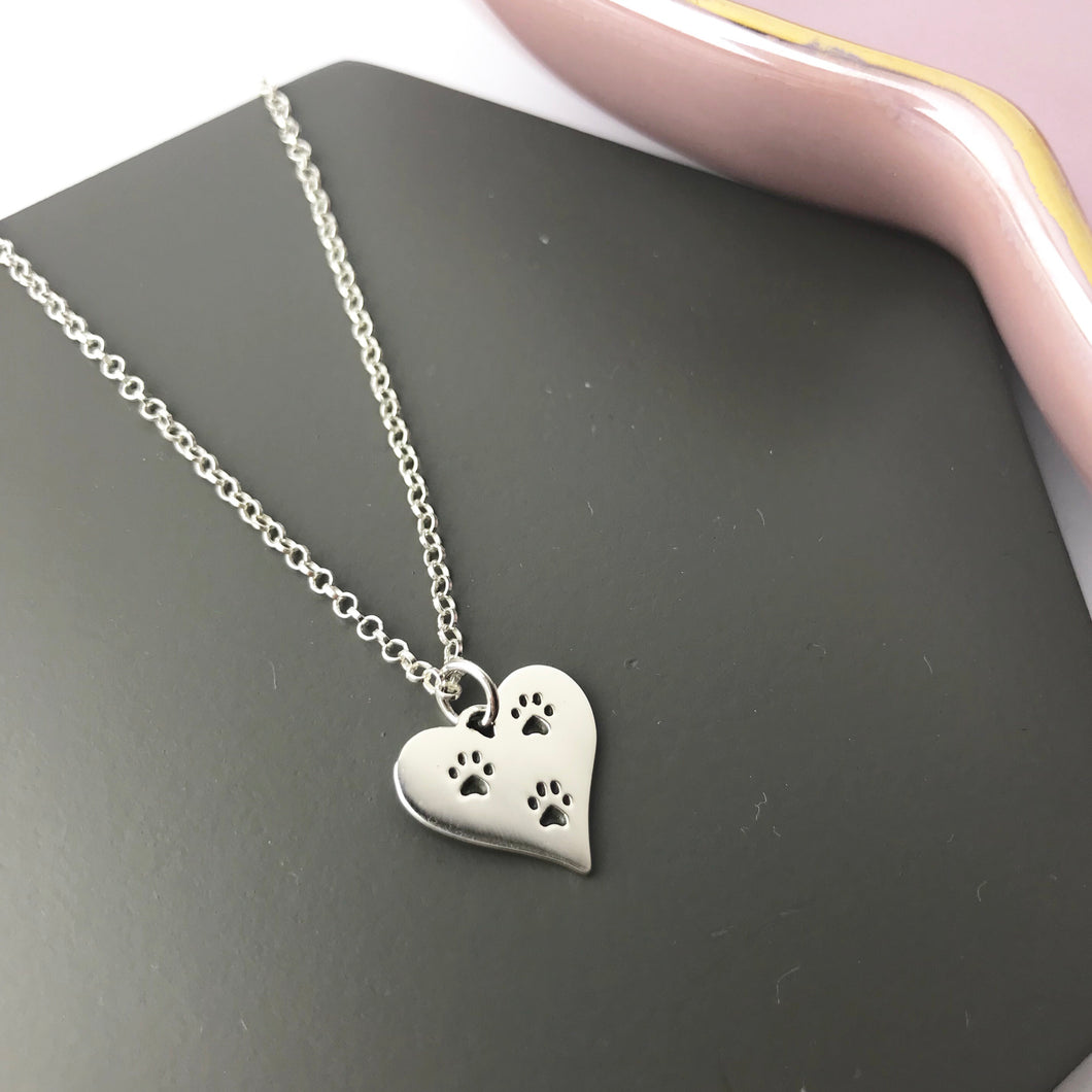 Sterling Silver Paw Print Heart Necklace
