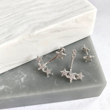 Sterling Silver Sparkly Star Ear Jacket Earrings