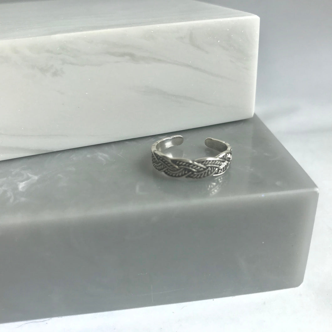 Sterling Silver Plaited Toe Ring / Pinky Ring