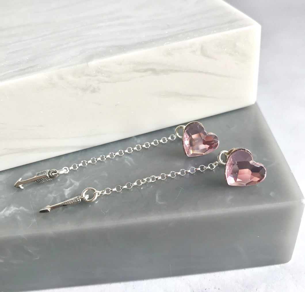 Sterling Silver Heart Stud And Arrow Earrings