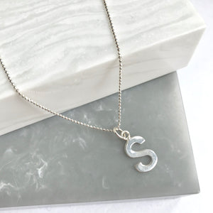 Sterling Silver Beaded Chain Initial Necklace