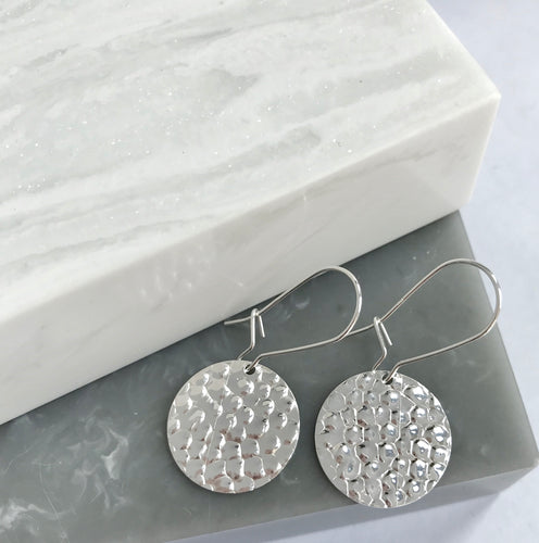 Sterling Silver Large Hammered Disc Earrings