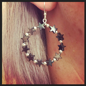 SALE!! Sterling Silver And Hematite Star Bead Earrings
