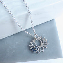 Sterling Silver Blooming Lotus Flower Necklace