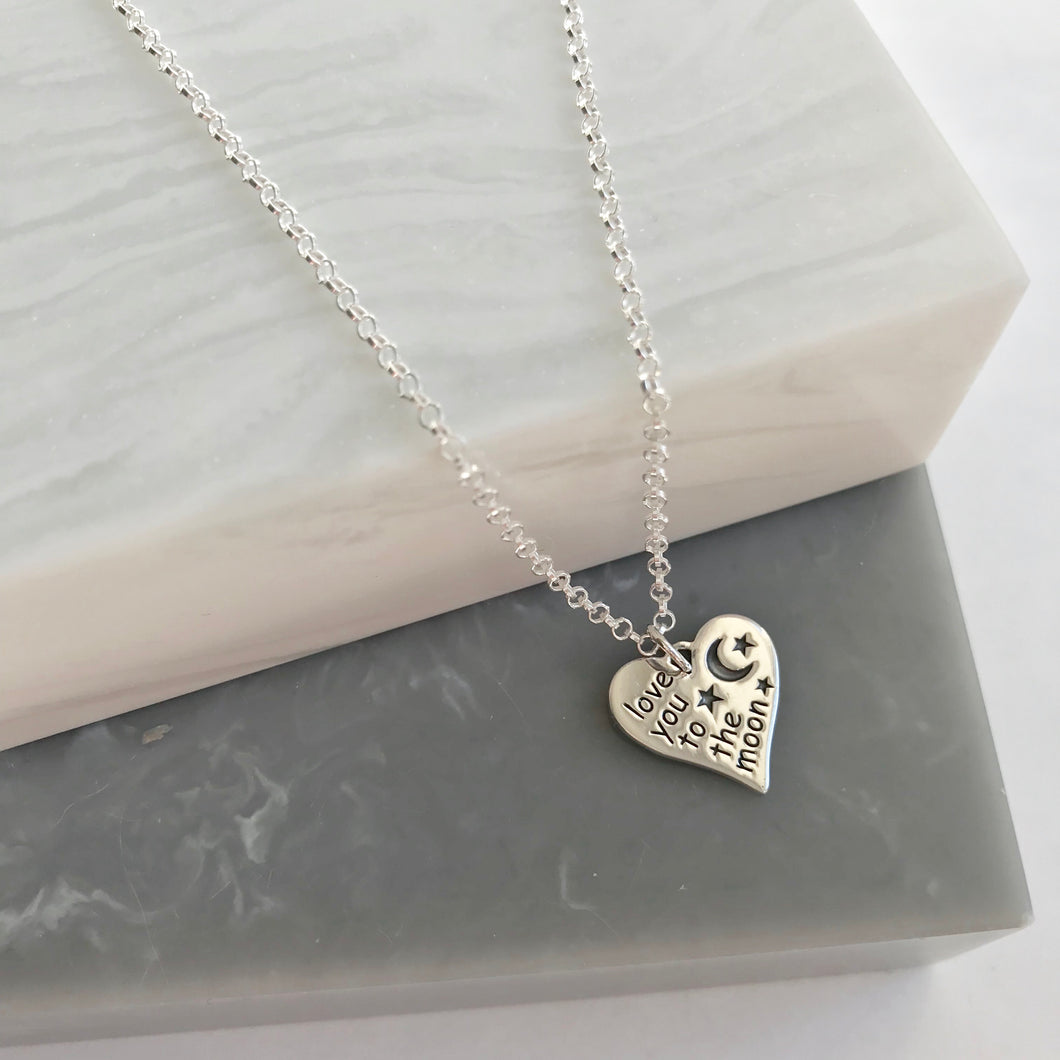 Sterling Silver Love You To The Moon Heart Necklace