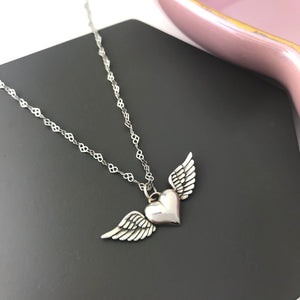 sterling silver winged heart angel necklace