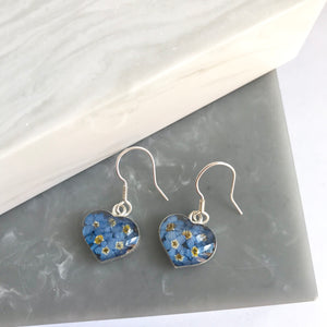 Sterling Silver Forget Me Not Heart Earrings
