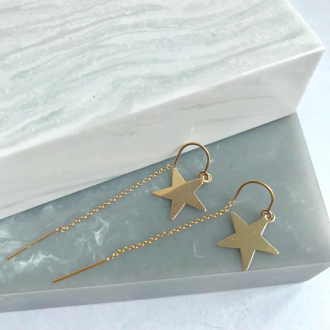 Gold Filled Star Threader Earrings
