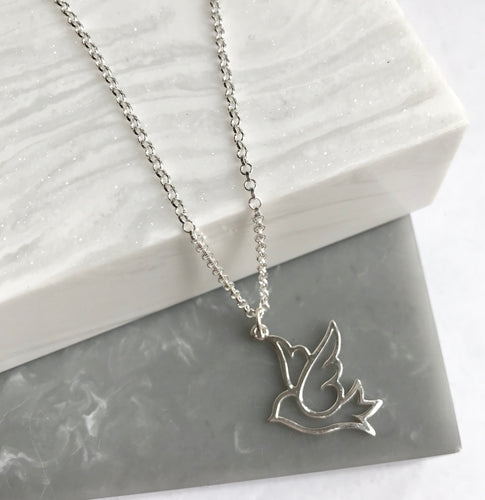 Sterling Silver Swallow Bird Necklace