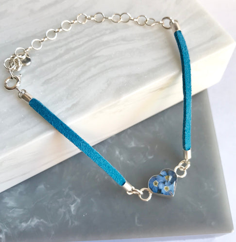 SALE!! Sterling Silver & Leather Look Forget Me Not Bracelet
