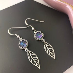 Sterling Silver Crystal & Leaf Earrings