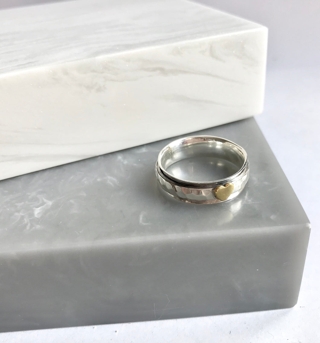 Sterling Silver Heart Spinning Ring