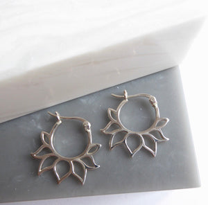 Sterling Silver Lotus Flower Hoop Earrings