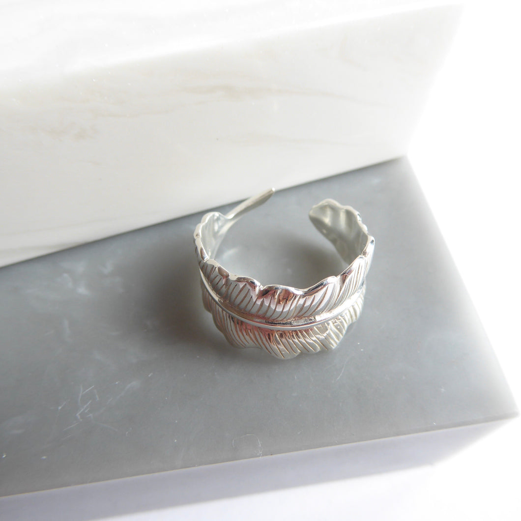 Sterling Silver Adjustable Leaf/Feather Ring