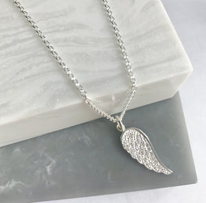 Sterling Silver Sparkly Angel Wing Necklace