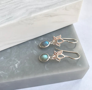 Sterling Silver Lotus Gemstone Earrings