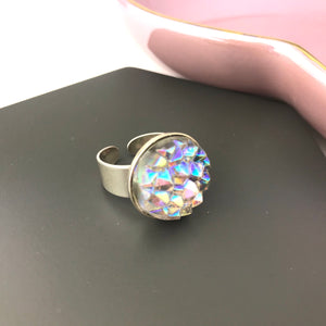 Sterling Silver AB Vintage Glass Stone Adjustable Ring