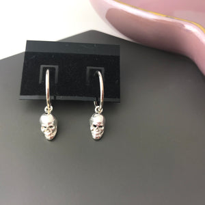 Sterling Silver Skull Charm Hoop Earrings