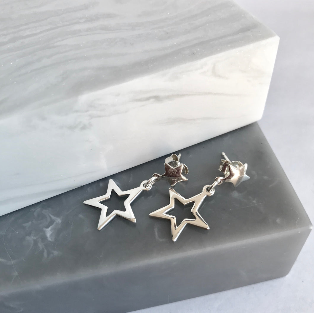 Sterling Silver Double Star Earrings