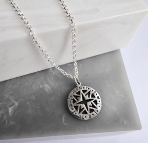 SALE!! Sterling Silver Compass Necklace