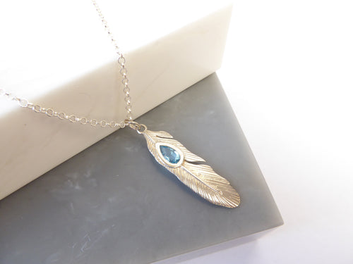 SALE!! Sterling Silver Topaz Gemstone Feather Necklace