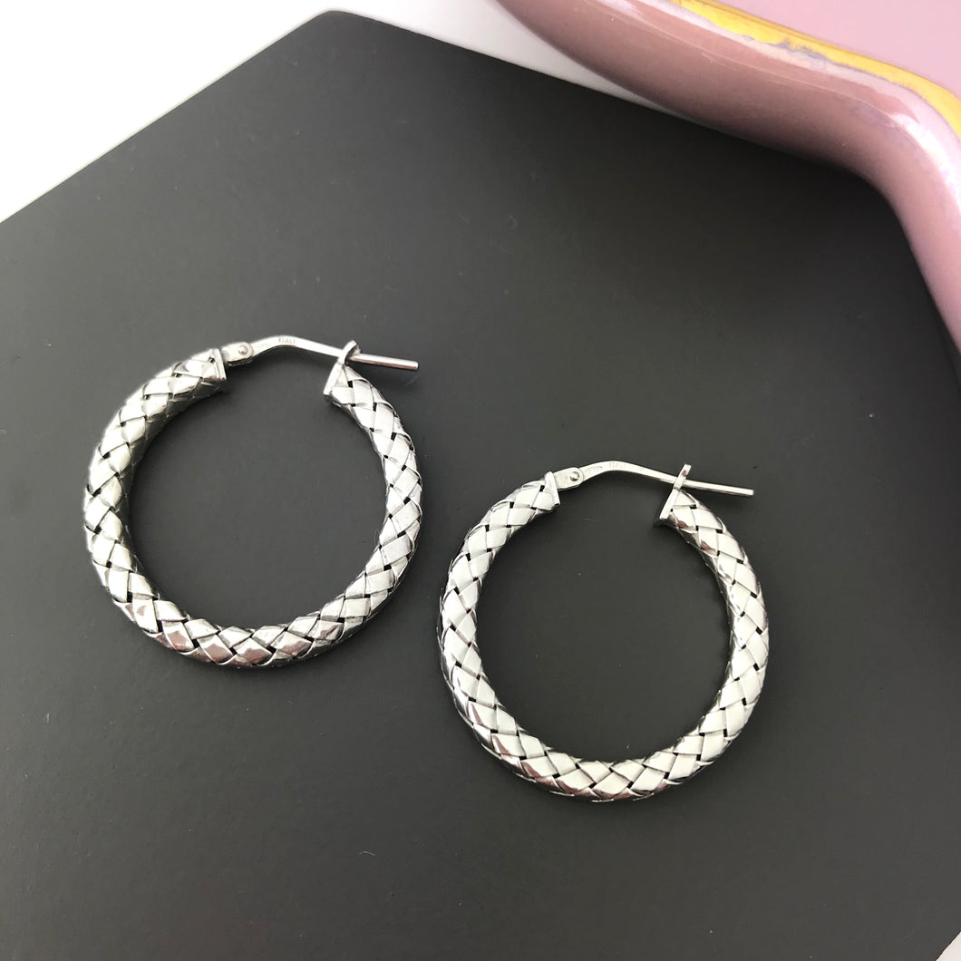 Sterling Silver Snake Skin Hoop Earrings