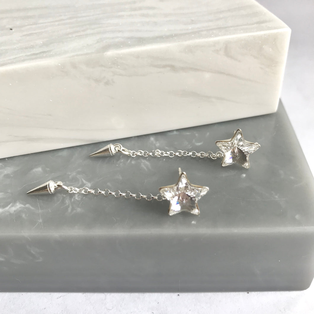 Sterling Silver Star Stud And Spike Earrings